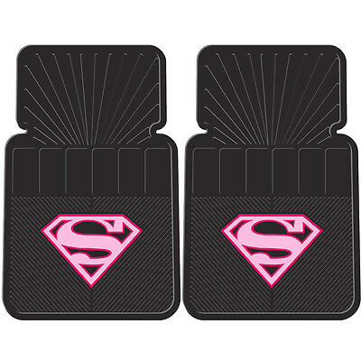 2PC DC Comic's Supergirl Pink Shield Front Rubber Floor Mats
