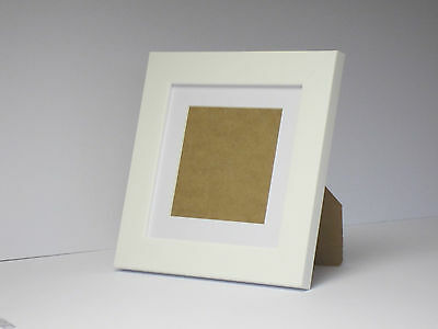 Teak Effect 7x7 Square Picture Photo Frame  Mount 4.75x4.75 Hang