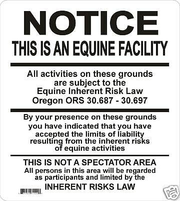Oregon Supplemental  Equine Signs Many More Signs Avail