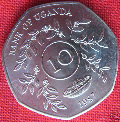 1987 Uganda 10 Shillings East Central Africa Coin Unc