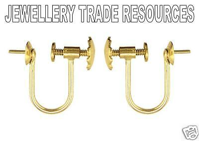 18ct YELLOW GOLD EARRING WIRES SCREW CLIP ON 4MM CUP