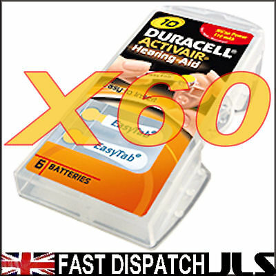 60 Duracell 10 DA10 n6 A10 YELLOW Hearing Aid Batteries
