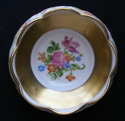 Hand Painted Concorde China Bowl With Heavy Gold Gilt