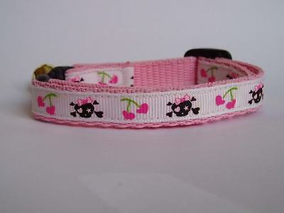 White Pink Skulls Cherry Cat Kitten Safety Collar 10mm or 12mm Wide 3. Lengths