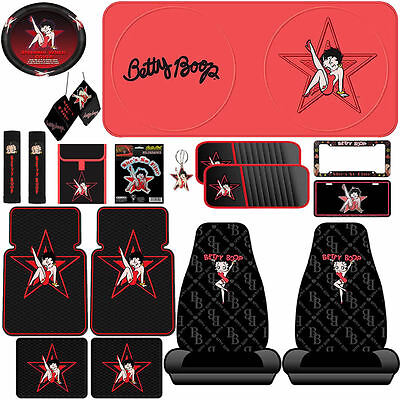 18pc Betty Boop Star Steering & Seat Covers Floor Mats License Plate Frame & Tag