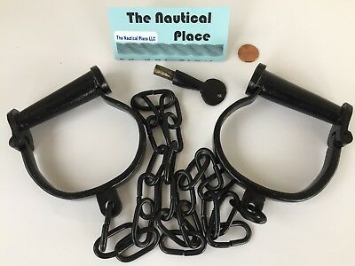 """36"""" Leg Irons ~ Old Vintage Antique 1800s Style ~ Shackles Cuffs ~ Police Jailer"""