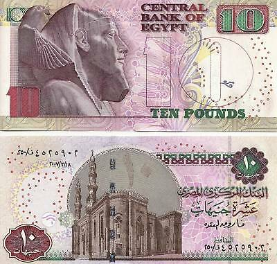 2007 Egypt 10 Pounds Uncirculated Crisp Egyptian Note