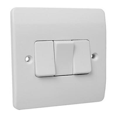 3 Gang 2 Way Light Switch White Plastic Double Beveled