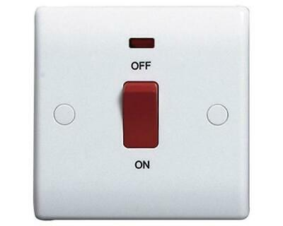 45 AMP DP Switch 1 Gang Plate Cooker Switch Neon Bevele