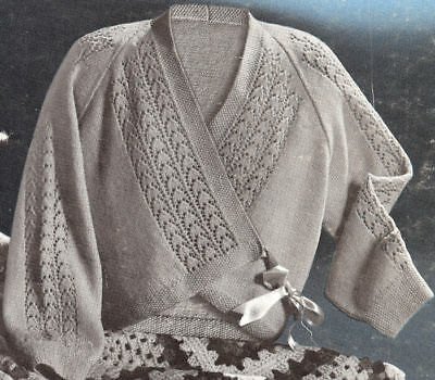 Vintage Knitting PATTERN Bed Jacket Sweater Wrap Lace
