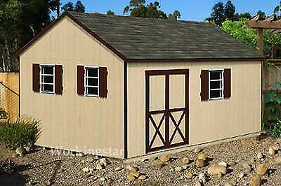 12' x 16' Backyard Garden Gable Garden Storage Shed Plans, Design #E1216