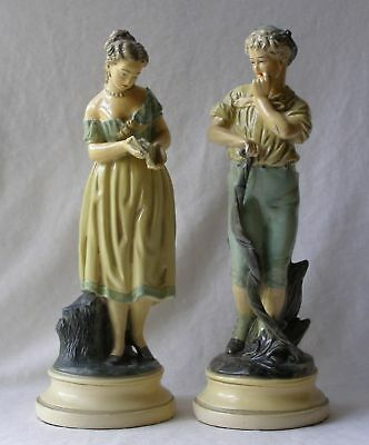 "Rare Vintage Pair Of Authentic Borghese Large Cast Plaster Figurines - 11"" T"