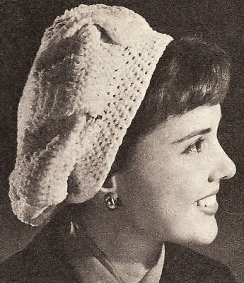 Vintage Crochet PATTERN to make Pleated Beret Hat Cap Snood PleatedBeret
