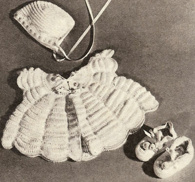 Vintage Crochet PATTERN to make Baby Set Sacque Dress Hat Booties CrochetScallop