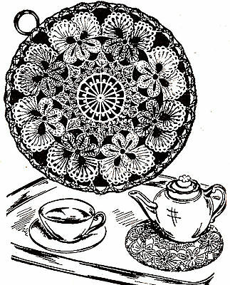 Vintage Crochet PATTERN to make Pansy Hot Pad Cover Doily Mat Large Vase Coaster