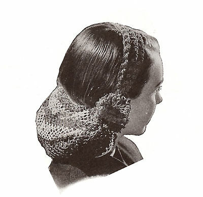 Vintage Crochet PATTERN to make Snood Head Band Hair Net 1940s TwoColorSnood