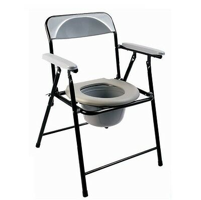 Folding Lightweight Commode Chair With Top Loading Easily Removable Pot