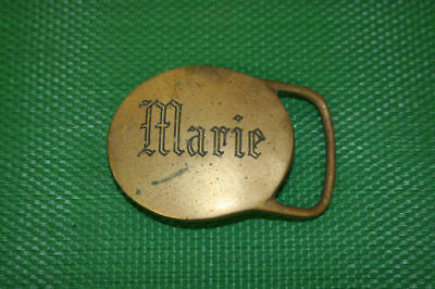 "1970's ""Marie"" Name Vintage Plaque Buckle NOS"