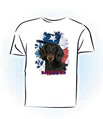 Dachshund   longhair black  Stars & Stripes  Pet Tshirt