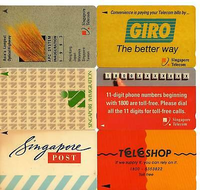 6 Different Used Phone Cards From Singapore 'Adverts'