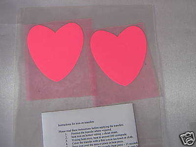 2 Hotfix iron on transfers luminous hearts 6 x 7 cm