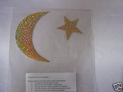 Hotfix iron on transfers star size 4cm and moon size 9cm
