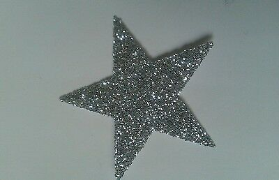 Hotfix iron on transfers 10 silver glitter 10cm stars