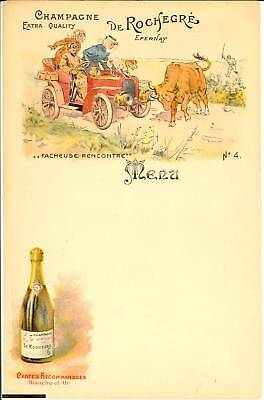 1910 EPERNAY Champagne extra quality DE ROCHEGRE' Menu