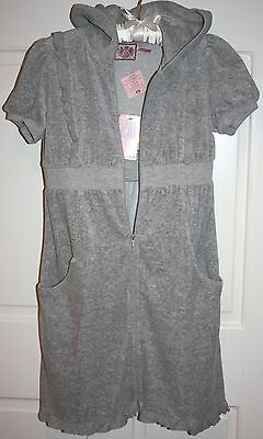 NWT Girls Juicy Couture Gray Hooded Ruffle Dress Size 14