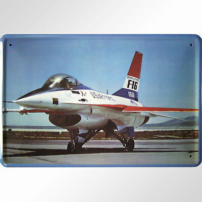 "Fighting Jet Usaf F 16 ""fighting Falcon"" Decoration Tin Sign Jagdbomber"