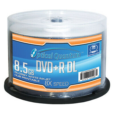 50 OQ 8x 8.5GB GLOSSY White Inkjet Printable DVD+R DL Double Layer OQDPRDL08GWIP