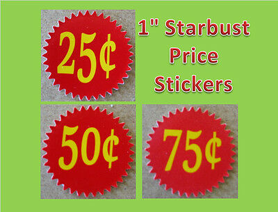 12 .25 INSIDE MOUNT Starburst  Vending Price labels Red