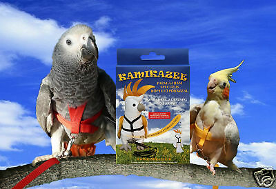 Kamikazee Bird Harness, Parrot Harness with FlightLeash