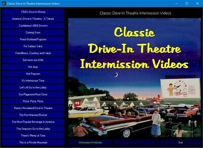 Classic Drive-In Theatre Intermission Videos DVD-ROM