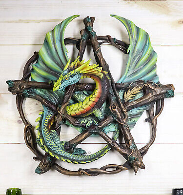 Anne Stokes Mystery Forest Tribal Pentagram Dragon Plaque Statue