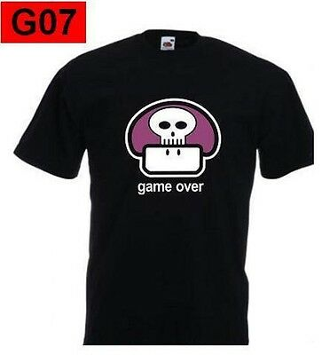 T-shirt GAME OVER super mario bros 1UP fungo games