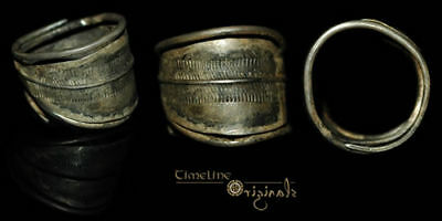 Scandinavian Viking Banded Silver Finger Ring 016103
