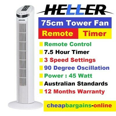 75cm TOWER FAN HELLER REMOTE CONTROL 7.5 HR TIMER 3 Speed 90deg OSCILLATION