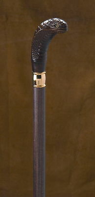 MADE IN ITALY COBRA, WOOD SHAFT CANE WALKING STICK