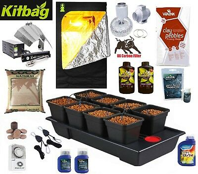 Tent & Grow Light & Fan carbon kit & 8 Pot Wilma hydro