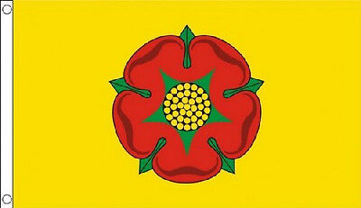 5' x 3' Lancashire Flag Red Rose Yellow Background England English County Banner