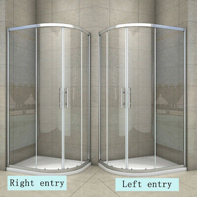 Quadrant Shower Enclosure Walk In Cubicle Tempered Glass Door Stone Tray NS