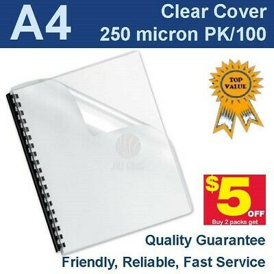 A4 Clear Binding Covers 250 Micron (PK 100)