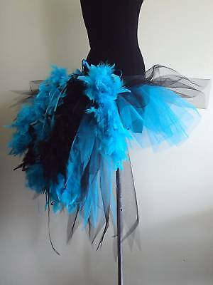 884835ef94 Burlesque Black Blue Tutu Skirt Bustle Feathers Womans plus size Halloween