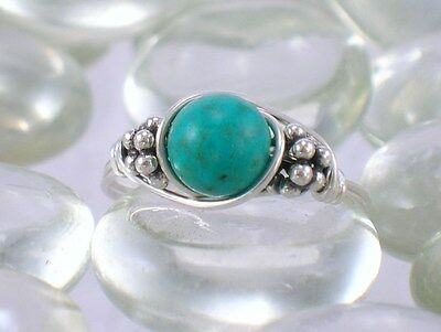 Turquoise Sterling Silver Bali Bead Ring