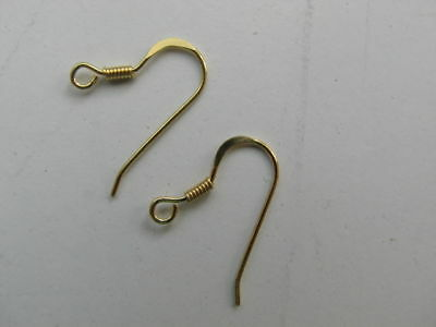 24 X Earring Wire Fish Hooks Gold Plated over Sterling Silver