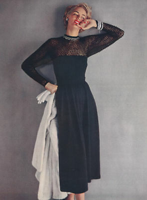 Vintage Knitting PATTERN to make Lace Evening Gown Dress 1940s Theatre Black