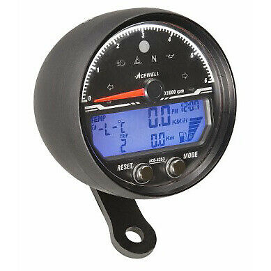 Acewell 4353AB LCD Digital Speedometer with Black Anodised Housing and Tradition