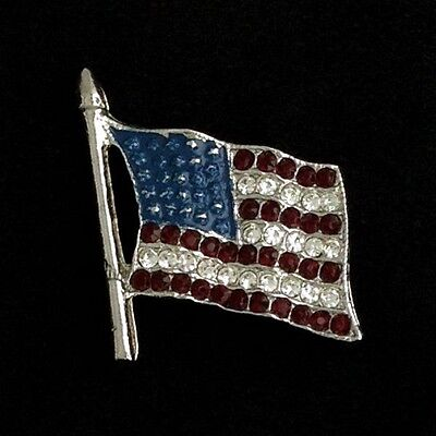 Small Silver Flag- Blue Enamel with Red and White stone