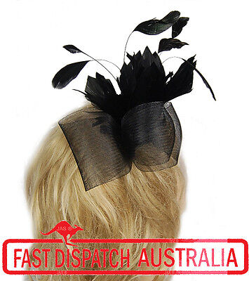 Melbourne Cup Spring Race Racing Party Wedding Feather Fascinator Comb Black